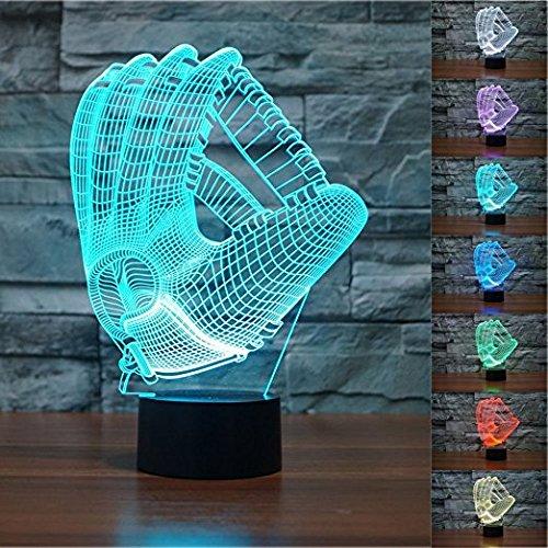 3D Luce Notturna, SUAVER 3D Optical Illusion 7 Colori Cambiano Tocco Lampada da Tavolo Decorazione Luci per Camera da Letto della Stanza di Bambini (Guanti)