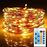 Dimmable Fairy Lights, FFNW LED Copper Wire String Lights with Remote Control 10M 100leds Starry Lights for Christmas, Bedroom, Garden, Party, Wedding (Warm White)
