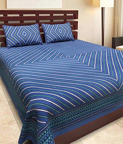 Uniqchoice 144 TC Cotton Double Bedsheet with 2 Pillow Covers - Blue