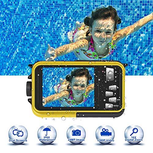 Camara Acuatica 24.0MP HD 1080P 3.0 Metros Camara Sumergibles para Snorkel a Prueba de Agua Completamente Sellada Camara de Fotos Acuatica 2.7 Pulgadas de Pantalla Doble TFT-LCD, Amarilla