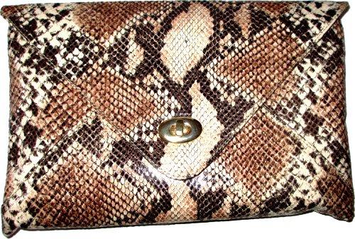 Schicke Handtasche / Clutch / Envelope im Schlangenleder-Look (Schlangenleder-tasche)