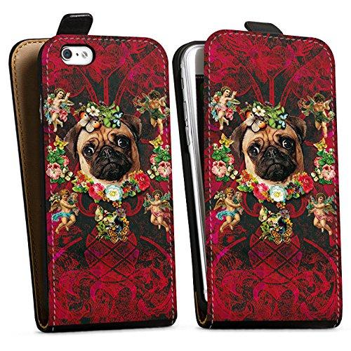 Apple iPhone X Silikon Hülle Case Schutzhülle Mopsi Engel Blumen Mops Hund Downflip Tasche schwarz