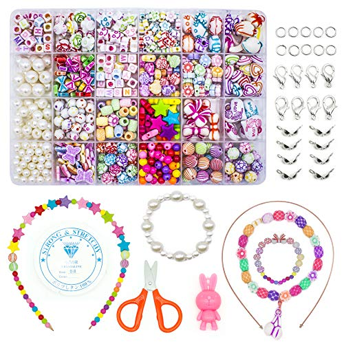 WonderforU Children DIY Beads for Jewellery Bracelet Necklaces String Making Kit, Friendship Bracelets Art Craft Kit for Girls Kids, 24 Colors