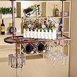 MoDi Botelleros cuelga Vino Estante de Cristal,Colgante sostenedor de Taza, Colgante stemware Rack Techo botelleros de Vino (Color : Bronce, Tamaño : 60 * 25 cm)