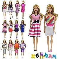 ZITA ELEMENT 10 Stück Puppen Kleider Bekleidung für Barbie Puppenkleidung Sommerkleid Casual Damen Kostüm mit Schuhe Zufälliger Stil