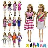 ZITA ELEMENT 10 Stück Puppensachen Bekleidung Set für Barbie Puppenkleidung Sommerkleid Kleider Casual Damen Kostüm mit Schuhe Zufälliger Stil