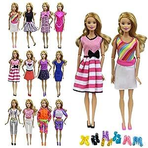 zita element 10 st ck puppen kleider bekleidung f r barbie puppenkleidung sommerkleid casual. Black Bedroom Furniture Sets. Home Design Ideas