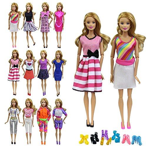 ZITA ELEMENT 10 Stück Puppensachen Bekleidung Set für Barbie Puppenkleidung Sommerkleid Kleider...
