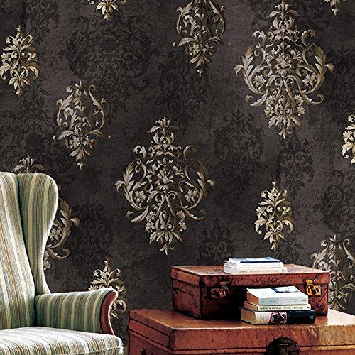 Papel pintado vintage de damasco rojo de lujo, con diseño de flores en relieve para dormitorio, sala de estar, hotel, decoración de la pared 50,8 x 25,4 cm, 1 Brown /Silver Flower Damask Wallpaper., 20.8' x 31ft