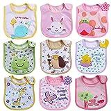HaimoBurg Set di 9 Bavaglini, impermeabili Cotone, Disegni Bimbo Bavaglino Fumetto Modello Infante Baby Bambino Impermeabile Saliva Asciugamano Adatti a 0-2 anni (Set di 9 B)