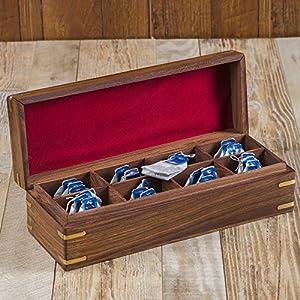 Rusticity Boîte à thé en bois/organiseur à épices avec couvercle–8slots | fait à la main | (12x 4.5en)