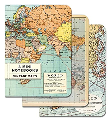 Cavallini - Set of 3 Mini Notebooks - Vintage World Maps - Lined, Blank & Graph Interiors