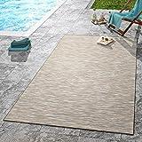 TT Home Moderner Outdoor Teppich Wetterfest Für Innen- und Außenbereich Meliert in Beige, Größe:80x200 cm