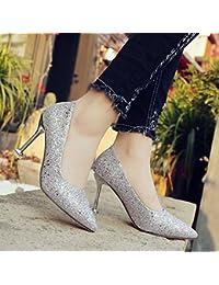 03d7671c349 Xue Qiqi Plata de Alta Heel Shoes Mujeres con Punta Fina Zapatos Dama  Zapatos de Boda