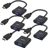BENFEI Adattatore HDMI a VGA, 5 Confezioni HDMI-VGA Placcato in Oro (da Maschio a Femmina)