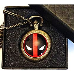 Deadpool Logo Quartz Pocket Watch Necklace - Antique Bronze Effect - GIFT BOXED WITH FREE SPARE BATTERY