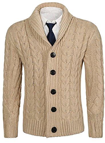 Brinny Herren Strickjacke Cardigan Stehkragen Schal-Kragen V-Ausschnitt Grobstrick aus hochwertiger Baumwollmischung