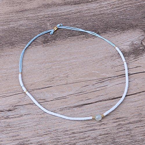 KELITCH Armband Hellblau Rocailles Perlen Zart Schnur Freundschaftsarmbänder mit Blau Achat