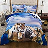 CHAOSE Tierreihe, Wolf Bettwäsche Set,Superweiche Polyester-Baumwolle,3-teilig (1 Bettbezug + 2 Kissenbezüge 48x74cm) (Tiger, King Size(220x240CM 2M Breites Bett))