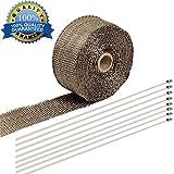 10M Titanium Auspuff Hitze Wrap Roll, Shineus Auspuff Isolierband Fiberglas Hitzeschild Tape für Downpipe, Auto Motorrad Piping