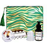 Soin minceur 2 ventouses anti cellulite rouleau massage huile pochette (vert)