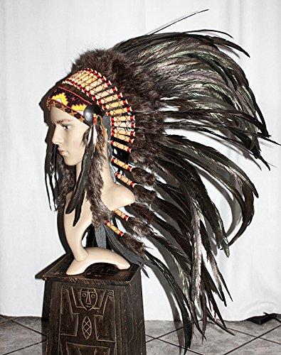 Indianer Kopfschmuck UNIKAT EDEL 95 cm. schwarze Federn Perlen für FOTOSHOOTING Fasching Kostüm - Medizinmänner Kostüm