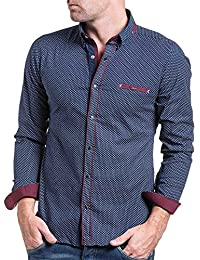 BLZ jeans - Chemise homme chic bleu navy et rouge à motifs
