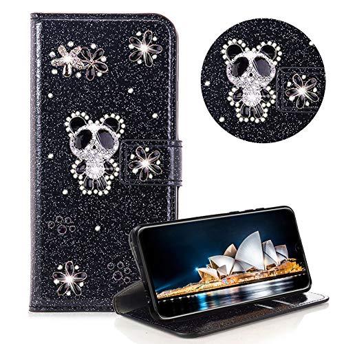 Glitzer Strass Brieftasche für Huawei P30 Pro,Schwarz Leder Handyhülle für Huawei P30 Pro,Moiky Luxus 3D Magnetisch Kristall Niedlich Panda Blumen Diamant Hülle mit Kartenfächer Ständer (Glitter Schwarz Geldbörse)