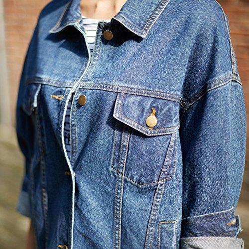 Sharewin weit geschnittene Damen-Jeansjacke im Boyfriend-Stil, langärmlig, blau, robust, ausgewaschen, Taschen und Knöpfe Gr. Large, blau - 2