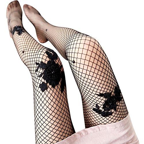 Mädchen Socken Rosennie Frauen Sexy Transparent Strumpfhosen Netzstrümpfe Damen Seide Strümpfe Lady Mesh Spitze Blume Perlen Fischnetze Gitter Damen Reizvolle Schmetterling Ultradünne Socken (Schwarz) (Perle-mädchen-socken)