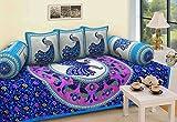 #3: Supreme Home Collective ethnic design blue color cotton diwan set 6pcs ( 1 bedsheet,3 cushion cover, 2 bolster)