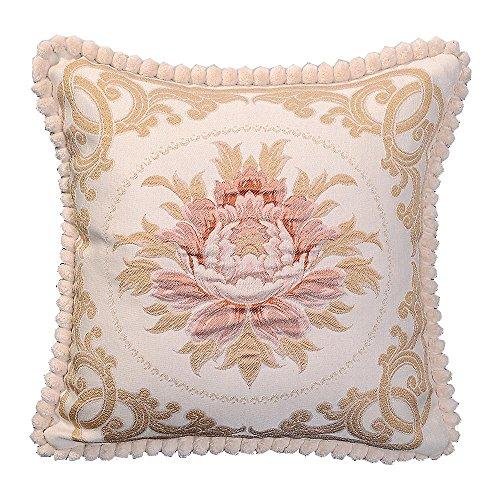 Sideli, federa copri cuscino, stile europeo e classico, in jacquard, decorativa, 45x 45cm mudan-beige