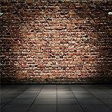 YongFoto 3x3m Vinyl Foto Hintergrund Alter Raum mit Backstein Weinlese Innenraum mit grauen Fliesen Ziegel Fotografie Hintergrund für Photo Booth Erwachsene Kinder persönliche Portrait Studio Requisiten