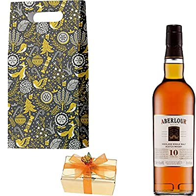 Aberlour 10 Year Old Single Malt Scotch Whisky Christmas Gift Set With Handcrafted Merry Christmas Gifts2Drink Tag