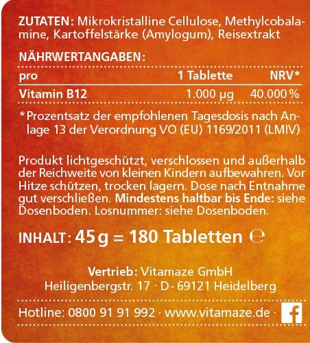 Vitamin B12 hochdosiert Methylcobalamin 1000 µg 180 Tabletten vegan 6 Monatsvorrat Qualitätsprodukt-Made-in-Germany ohne Magnesiumstearat, jetzt zum Aktionspreis und 30 Tage kostenlose Rücknahme! 1 er Pack (1 x 45 g) - 6