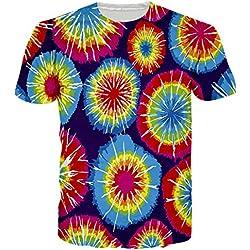 Leapparel unisex Colorido Tie-Dye gráfico de manga corta camisetas S