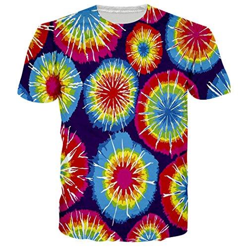 Leapparel Unisex Bunte Tie-Dye Grafik Kurzarm T-Shirts T Shirts Kleider M (Tie Klein Herren Dye)