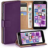 moex Nokia Lumia 530   Hülle Lila mit Karten-Fach 360° Book Klapp-Hülle Handytasche Kunst-Leder Handyhülle für Nokia Lumia 530 Dual SIM Case Flip Cover Schutzhülle Tasche