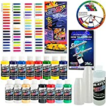 Createx–aerógrafo de kit-super16Super Starter Kit con 100unidades–1oz tazas de mezcla de pintura, aerógrafo libro, Createx–Gráfico de colores de todos los 80colores y bolsillo mezcla color bolsillo rueda