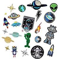 24 piezas de robot y alien para ropa, planchar o coser parches bordados