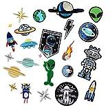 24 piezas de robot y alien para ropa, planchar o coser parches...