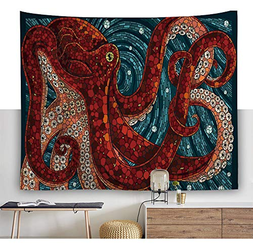 Geometrisch Rote Krake Tintenfisch Malerei Wandteppich Kraken Tentakel Tiefe Ozean Wandkunst Tapisserie Marine Tier Wandbehang Mandala Böhmische Strandwurf Hippie Wanddecke Wandtuch Pattern2 91*59in