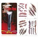 papapanda Künstlich Vampir Blut mit Halloween Narben Tattoo Kunstblut