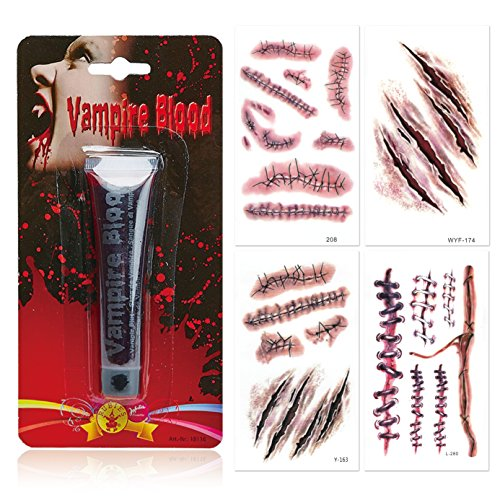 es Blut Artificial Fake Blood + 4 Halloween Tattoo Bogen Einmaltattoo Aufkleber Filmblut Theaterblut Temporary Sticker Narben Kratzer Wunden Nähte Biß Bißspur Verletzung scars Vampir vampire (Halloween Fake Tattoos)