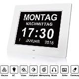 Fomobest Wecker Digital Bilderrahmen Groß Tischuhr/Wanduhr 8 Zoll Standuhr mit Zeit/Kalender/Foto/Video Anzeige Helligkeit/Musik/Erinnerung Einstellbar Uhr Weiß