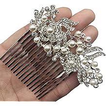 Gracewedding argento e oro Bling da sposa fermacapelli con cristalli per  donne e ragazze 62b75319501b