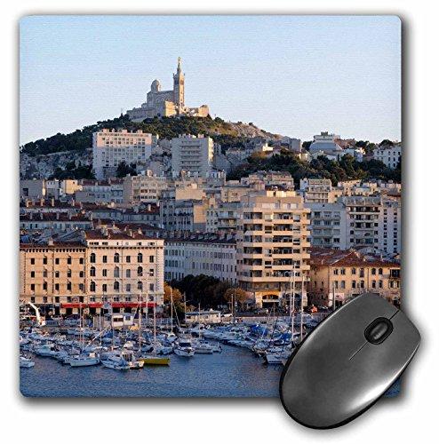 3drose Frankreich, Marseille. vieux-port mit Basilika Notre Dame de la Garde, Maus Pad, 20,3cm von 20,3cm (MP _ 227261_ 1) (Vieux Port)
