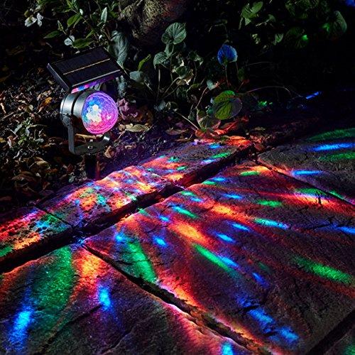 goodjinHH Solar Licht, verbesserte LED Outdoor Landschaft Rasen drehbar Party Ball Projektor Licht mit 3 Color LEDs für Baum, Terrasse, Garten, Auffahrt, Treppen, Pool-Bereich (schwarz) -