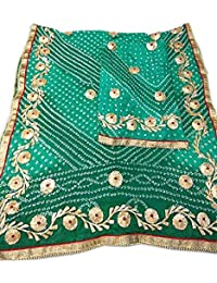 Jaipuri Rajasthani Suit Art Silk Bandhej Gota Patti Work Rama Color