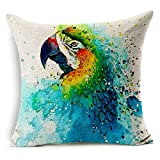 Nunubee Parrot Flax Linen Throw Pillow Covers Comfortable Cushion Cover Super Soft Pillowcase For Sofa Bed Decorative Pillows 45X45CM